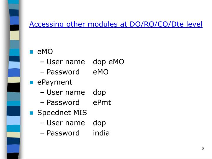 Accessing other modules at DO/RO/CO/Dte level