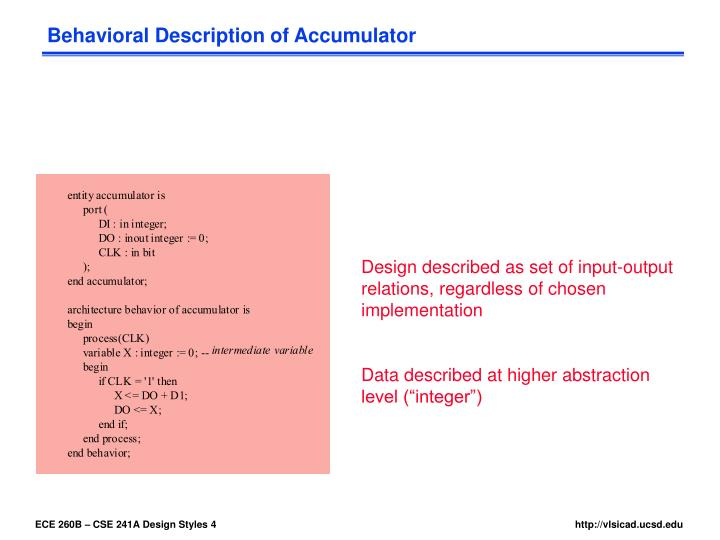 Behavioral Description of Accumulator