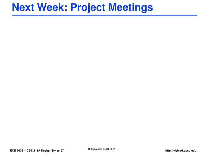 Next Week: Project Meetings