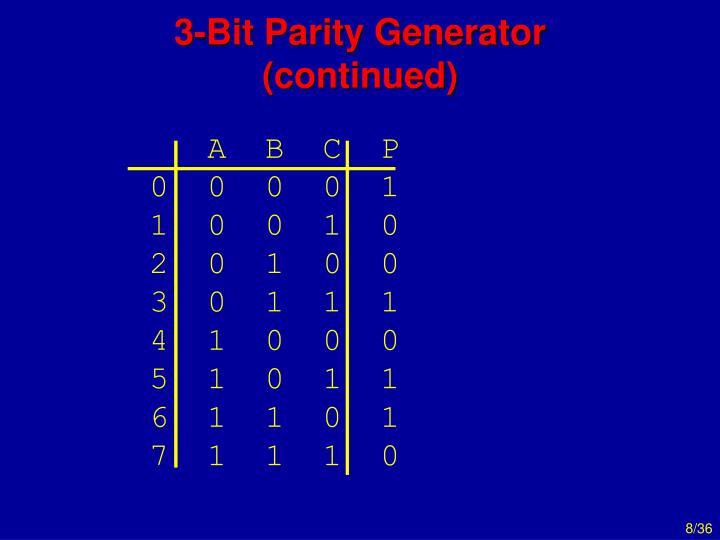 3-Bit Parity Generator (continued)