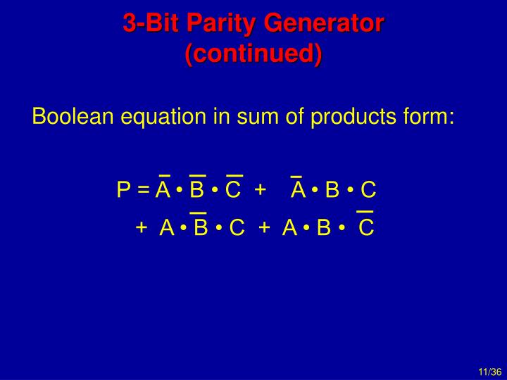 Boolean equation in sum of products form:
