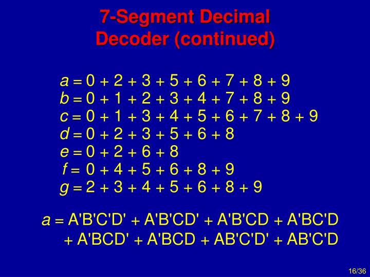 7-Segment Decimal Decoder (continued)