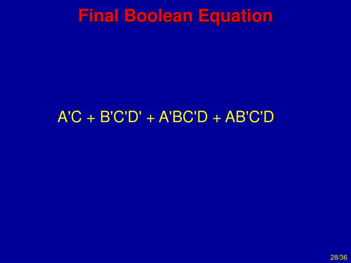 Final Boolean Equation