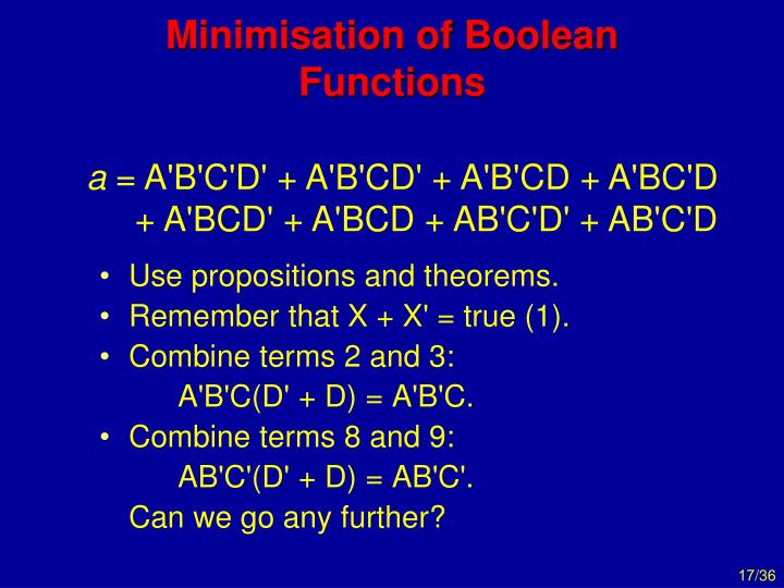 Minimisation of Boolean Functions
