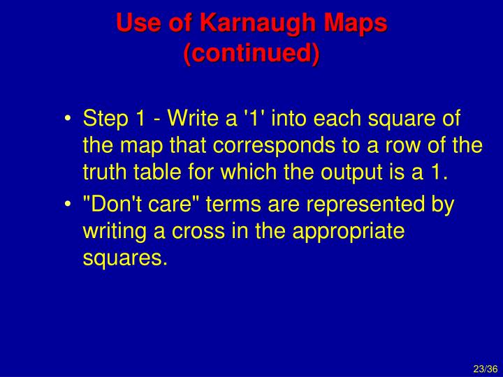 Use of Karnaugh Maps (continued)