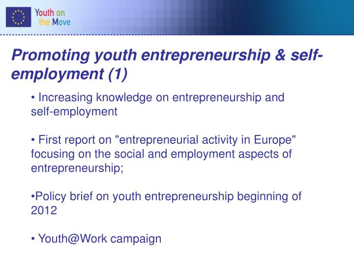 Promoting youth entrepreneurship & self-employment (1)