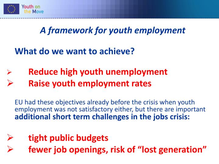 A framework for youth employment