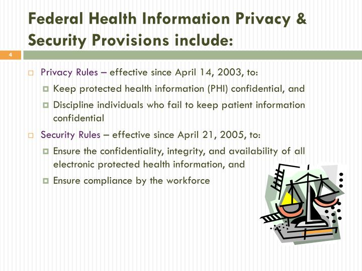 Federal Health Information Privacy & Security Provisions include: