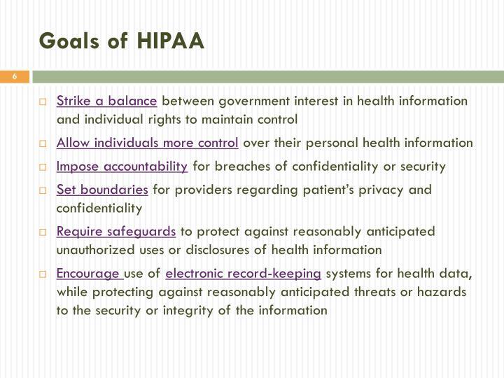 Goals of HIPAA