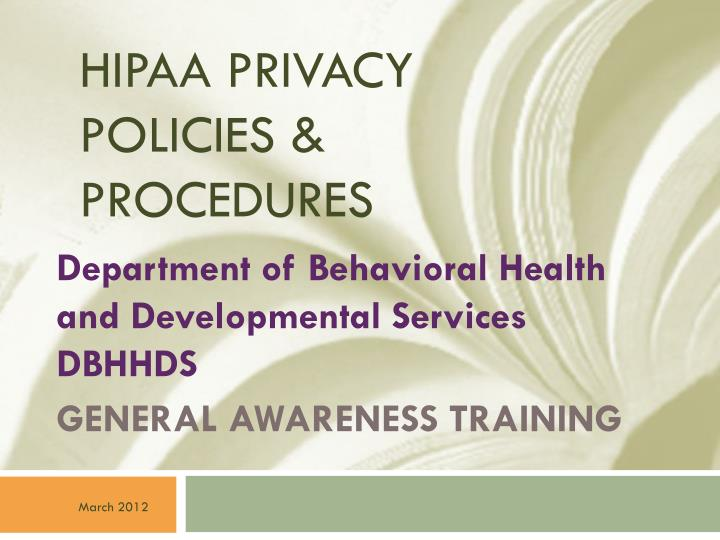 Hipaa privacy policies procedures