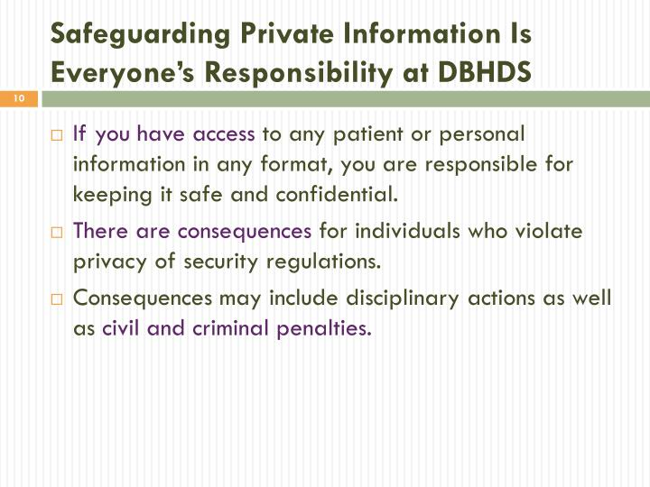 Safeguarding Private Information Is Everyone's Responsibility at DBHDS