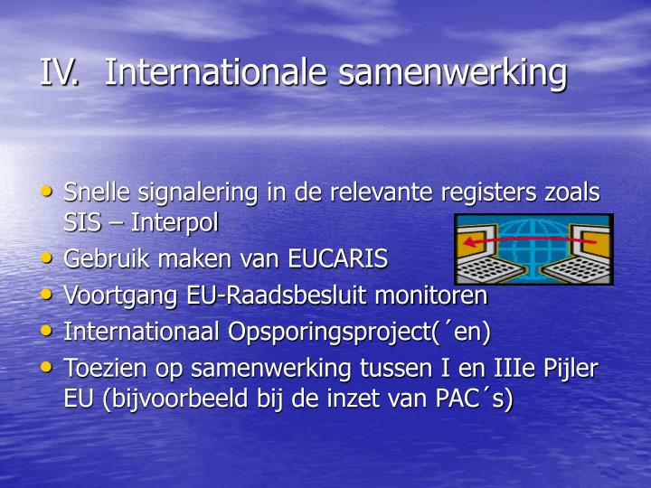 IV.	Internationale samenwerking