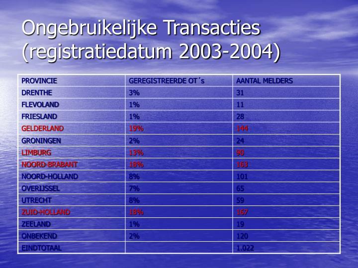 Ongebruikelijke Transacties (registratiedatum 2003-2004)