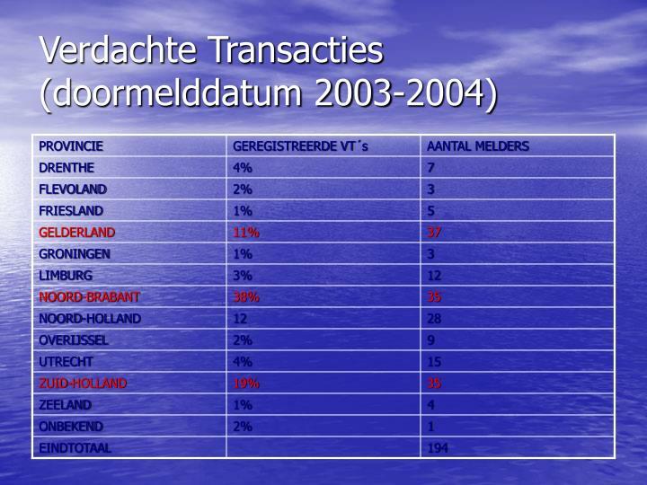Verdachte Transacties (doormelddatum 2003-2004)