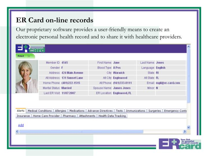 ER Card on-line records