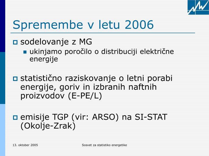 Spremembe v letu 2006