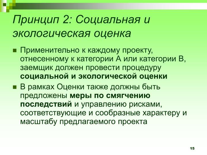 Принцип 2: Социальная и экологическая оценка