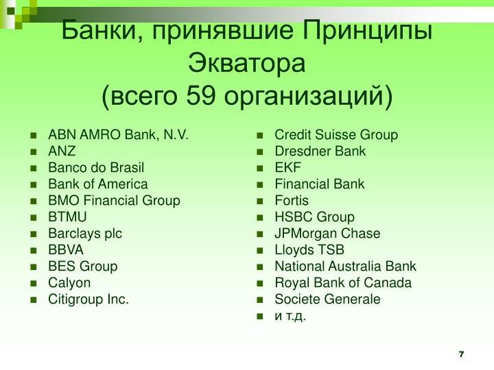 Банки, принявшие Принципы Экватора