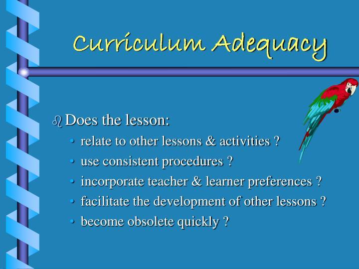 Curriculum Adequacy