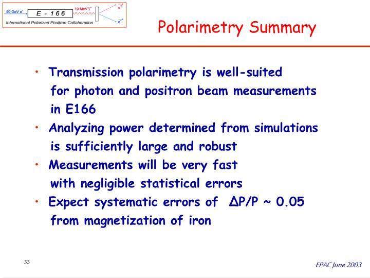 Polarimetry Summary