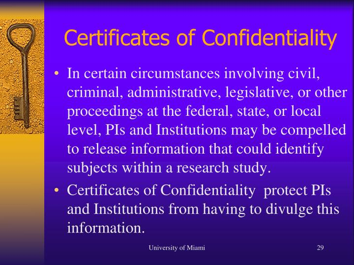Certificates of Confidentiality