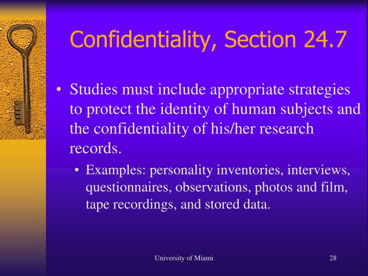 Confidentiality, Section 24.7