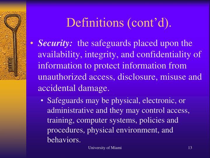 Definitions (cont'd).