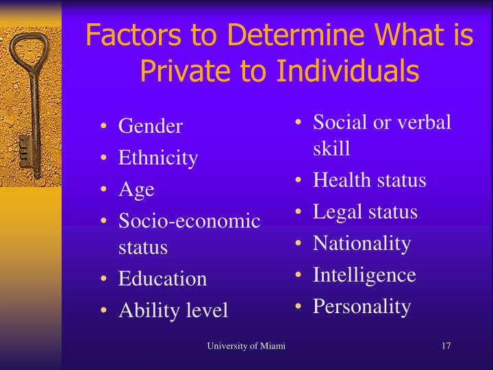 Factors to Determine What is Private to Individuals