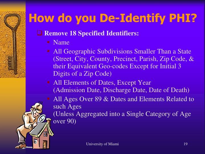 How do you De-Identify PHI?