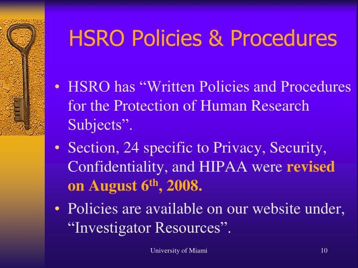 HSRO Policies & Procedures