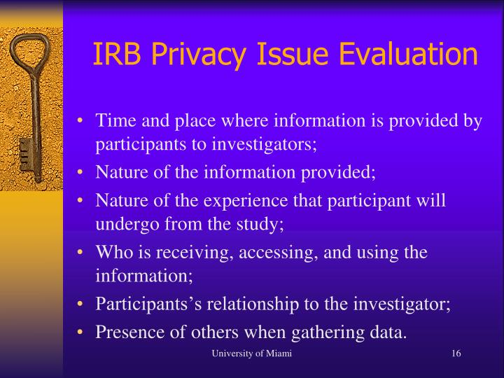 IRB Privacy Issue Evaluation
