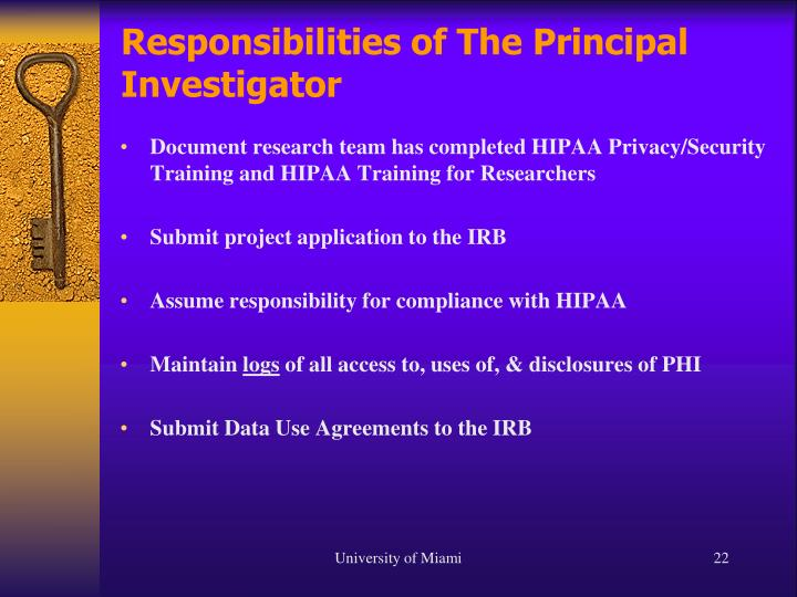 Responsibilities of The Principal