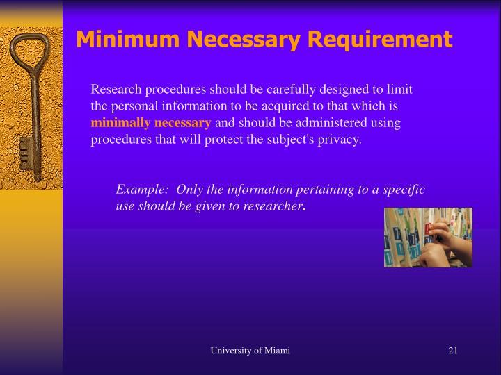 Minimum Necessary Requirement