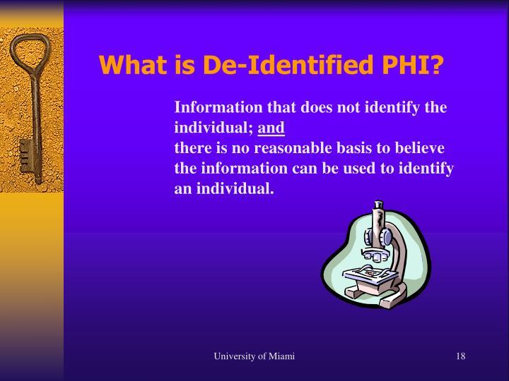 What is De-Identified PHI?