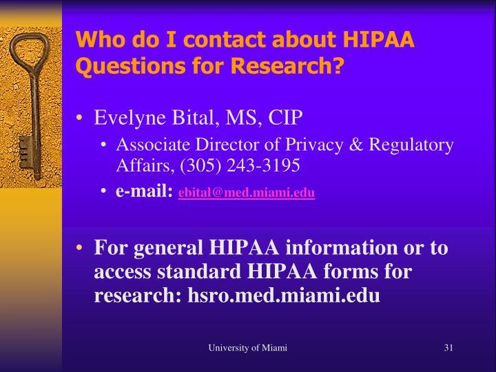 Who do I contact about HIPAA