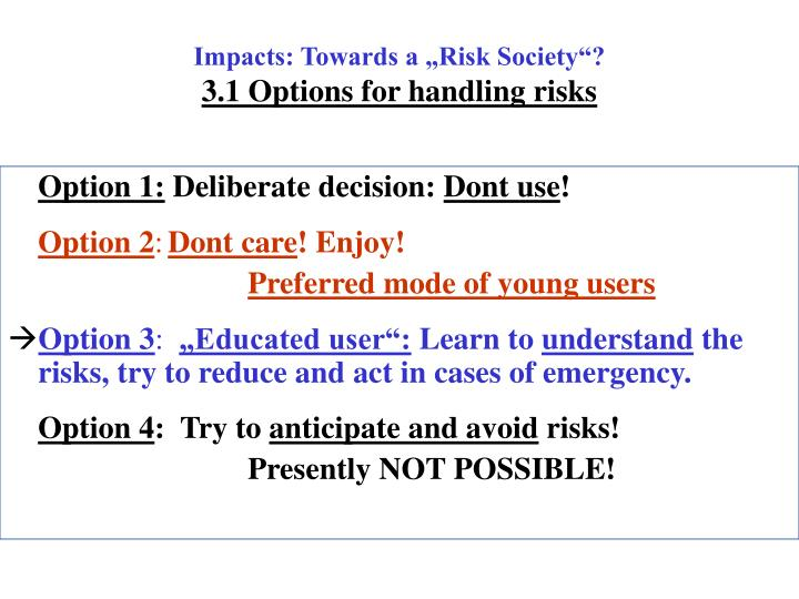 "Impacts: Towards a ""Risk Society""?"