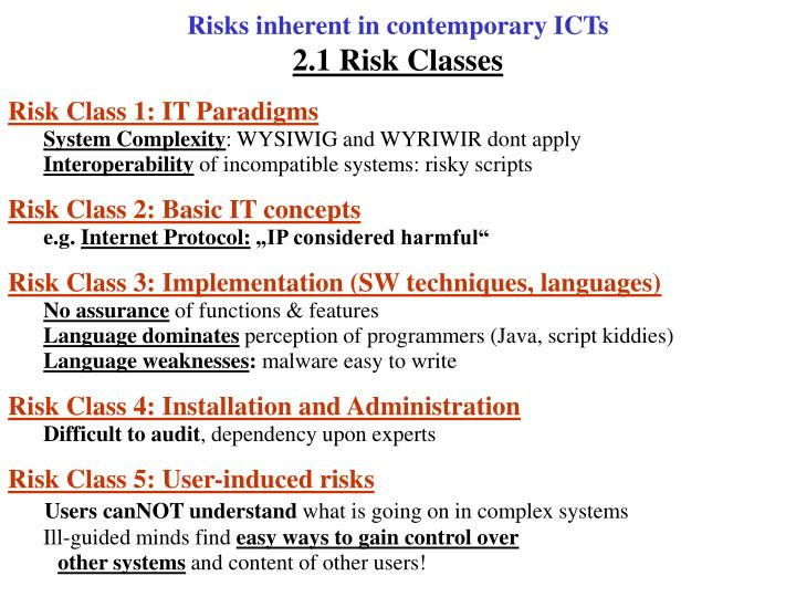 Risks inherent in contemporary ICTs