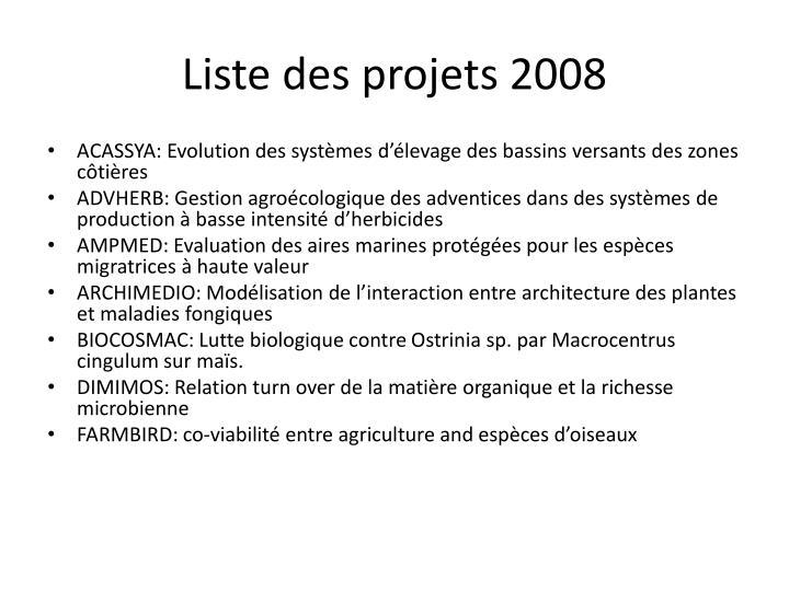 Liste des projets 2008