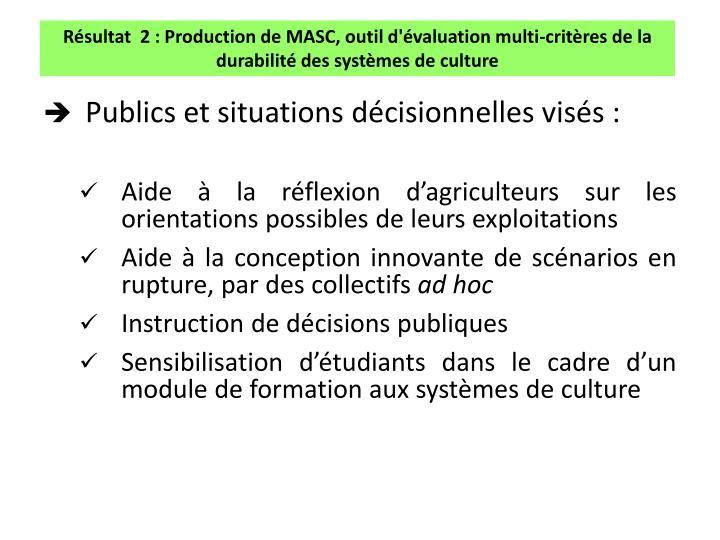 Résultat  2 : Production de MASC, outil d'évaluation multi-critères de la durabilité des systèmes de culture