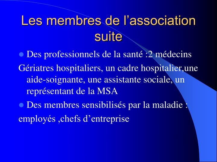 Les membres de l'association