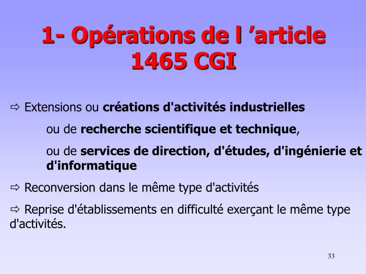 1- Opérations de l'article 1465 CGI