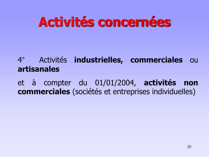 Activités concernées