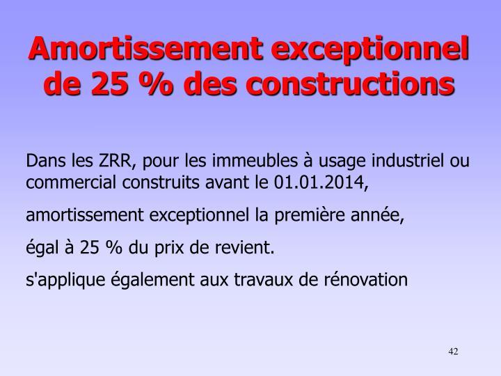 Amortissement exceptionnel de 25% des constructions