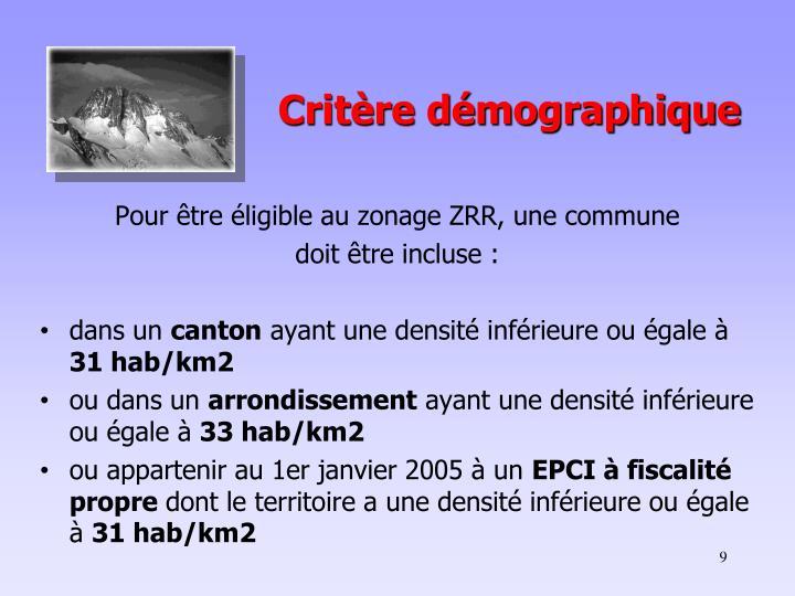 Critère démographique
