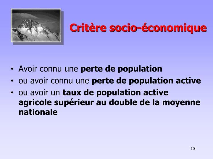 Critère socio-économique