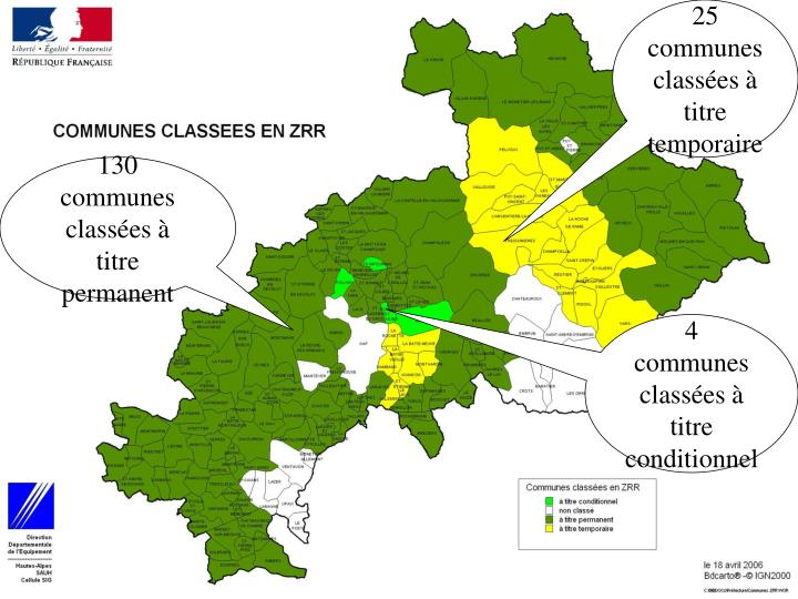 25 communes classées à titre temporaire