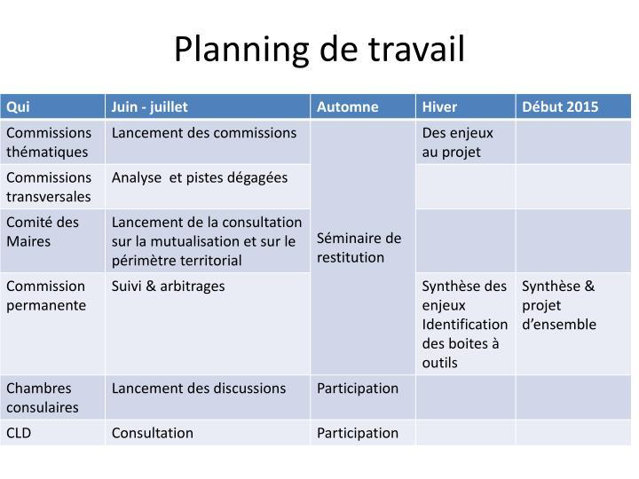 Planning de travail