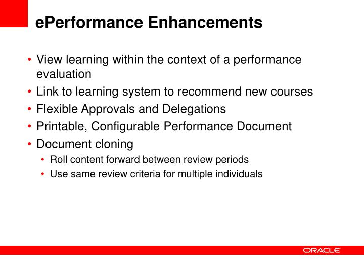 ePerformance Enhancements