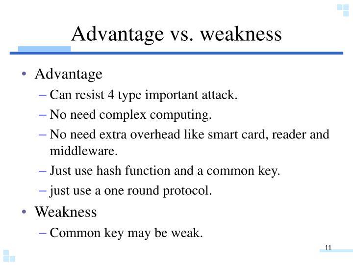 Advantage vs. weakness