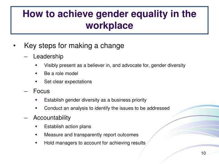 How to achieve gender equality in the workplace